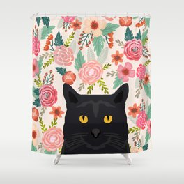 Black Cat florals spring summer animal portrait pet friendly cat lady gifts for her or him cute cats Shower Curtain