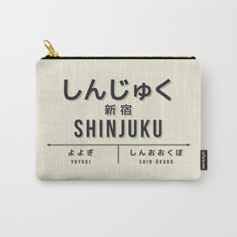 Vintage Japan Train Station Sign - Shinjuku Tokyo Cream Carry-All Pouch