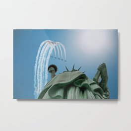 Jet Formation Over Statue of Liberty Metal Print