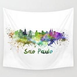 Sao Paulo skyline in watercolor splatters Wall Tapestry