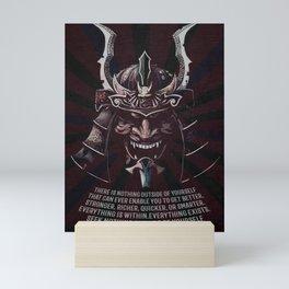 Samurai Warrior, Quote by Miyamoto Musashi, iaido, kendo, kenjutsu, aikido Mini Art Print