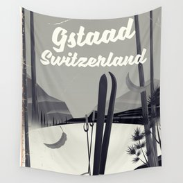 Gstaad Switzerland ski poster. Wall Tapestry