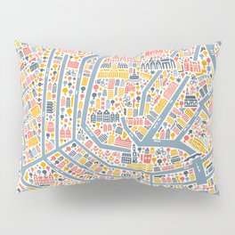 Amsterdam City Map Poster Pillow Sham