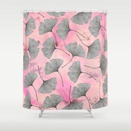 botanical biloba drawing pattern on pink watercolor marble Shower Curtain