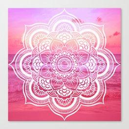 Water Mandala Hot Pink Fuchsia Canvas Print