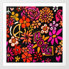 Peace Love and Flower Power Art Print