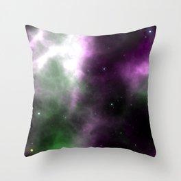Purple Nebula Space Galaxy Throw Pillow