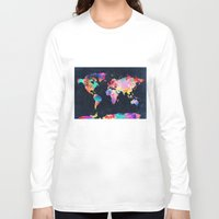 world maps Long Sleeve T-shirts featuring World map by Bekim ART