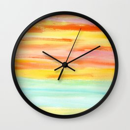 Summer Sunset Abstract Painting Stripes Pattern Modern - Be Yourself And Fall In Love Wall Clock