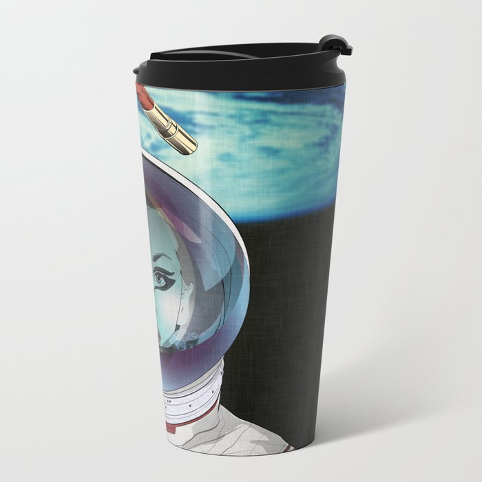 Miss Space Pilot Metal Travel Mug
