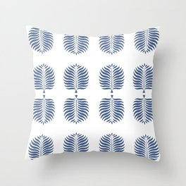 TROPICAL PALMS . WHITE + BLUE Throw Pillow