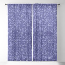 Blue woven lace pattern Sheer Curtain