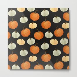 Orange yellow gray black watercolor pumpkin pattern Metal Print