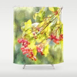 Winter Berries Watercolor Shower Curtain