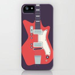 Retro 60s Guitar - Black iPhone Case