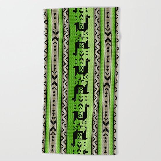 Llamas_Green and WarmGray Beach Towel