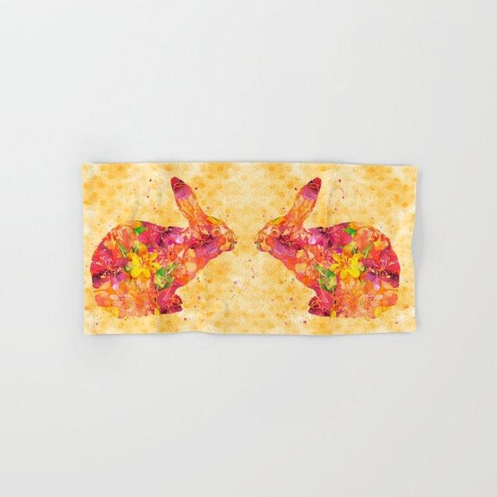 Happy Bunny flower watercolor pattern rabbit Hand & Bath Towel