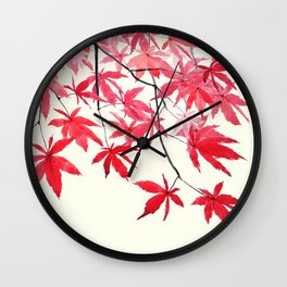 red maple leaves watercolor painting Wall Clock