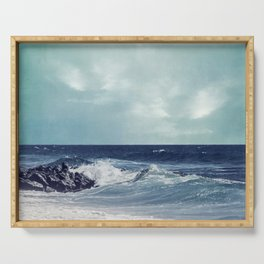 Atlantic Surf - Waves Breaking On A French Beach Serving Tray