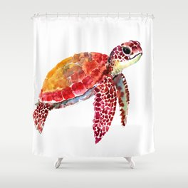 Baby Turtle decor, nursery art decor children room orange red Shower Curtain