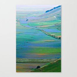 Plain of Castelluccio seen from above Canvas Print