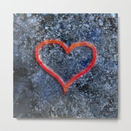 The love heart rises from the ashes and burns again Metal Print