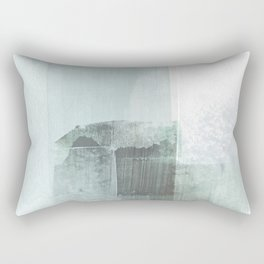 Pale Teal Blue Square Minimalist Abstract Painting Rectangular Pillow