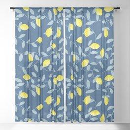Lemon pattern light blue and navy Sheer Curtain
