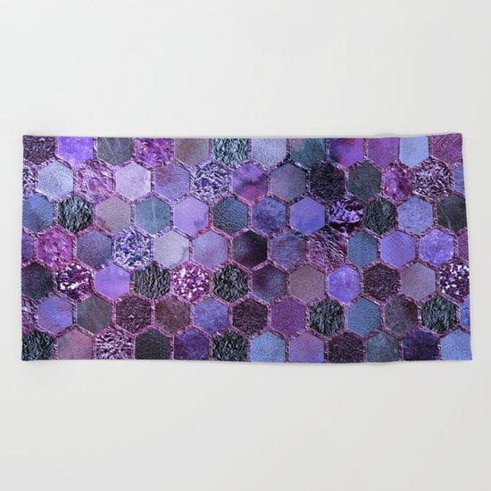 Purple geometric hexagonal elegant & luxury pattern Beach Towel