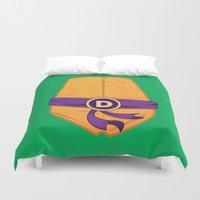 ninja turtle Duvet Covers featuring Donatello Turtle by Salina Ayala
