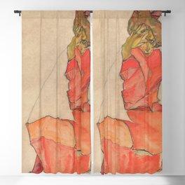 Egon Schiele - Kneeling Female in Orange-Red Dress Blackout Curtain