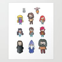 harry potter Art Prints featuring Wizards by Hello Quirky