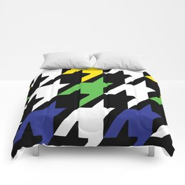 Jumbo Scale Masculine Colored Houndstooth Pattern Comforters
