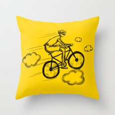 Biking in the Clouds Throw Pillow