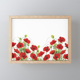 Poppies Flower Field red with background Framed Mini Art Print