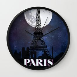 Paris vintage poster travel Wall Clock