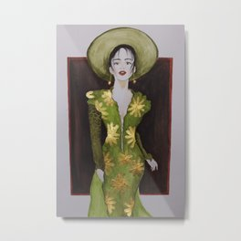 Classy woman in green dress with golden accents Metal Print