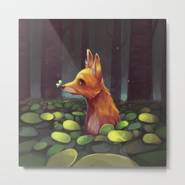 The Lonely Forest Fox Metal Print