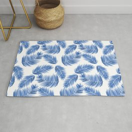 Tropical Palm Leaves - Blue and White Palette Rug