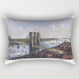 NEW YORK  East River BRIDGE city old map Father Day art print poster Rectangular Pillow
