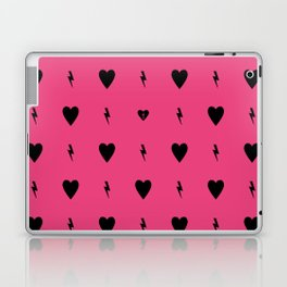 Electric Hearts on Pink Laptop & iPad Skin