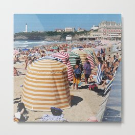 Biarritz Beach Tents Metal Print