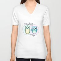 owls V-neck T-shirts featuring owls by techjulie