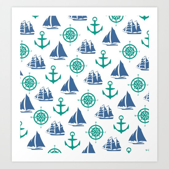 Nautical Pattern Art Print