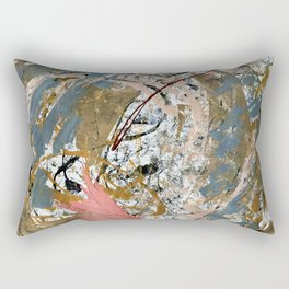Symphony [2]: colorful abstract piece in gray, brown, pink, black and white Rectangular Pillow