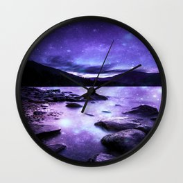 Magical Mountain Lake Purple Wall Clock