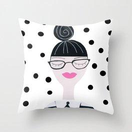 Hipster Girl Throw Pillow
