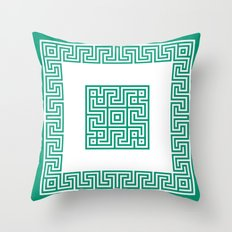 Greek Key emerald Throw Pillow