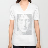 imagine V-neck T-shirts featuring Imagine by Robotic Ewe