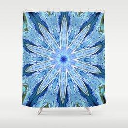 Thinking of You Blue Kaleidoscope Shower Curtain